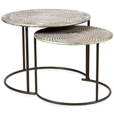 2 Piece Punched Geometric Side Table Set