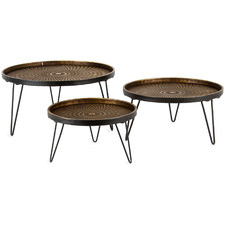 3 Piece Lustre Stepped Iron Platter Set