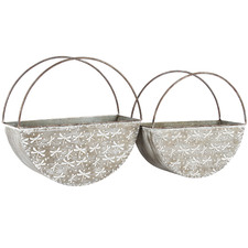 2 Piece Elemental Dragonfly Iron Wall Planter Set