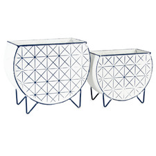2 Piece Monochrome Geometric Iron Planter Set