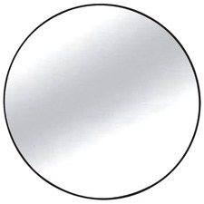 Black Slimline Round Metal Wall Mirror