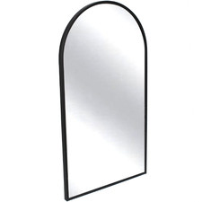 Black Slimline Arched Metal Wall Mirror