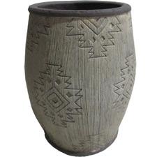 Grey Aztec-Style Terracotta Planter