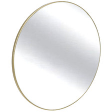 Gold Slimline Round Metal Wall Mirror