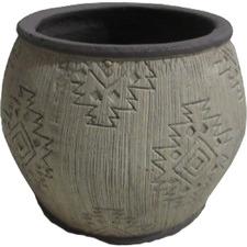 18cm Grey Aztec-Style Planters (Set of 2)