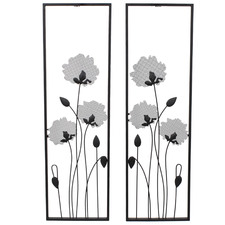 2 Piece Black Flower Metal Wall Art Set