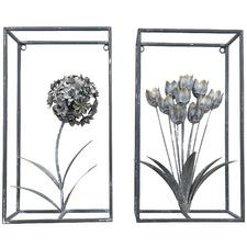 2 Piece White 3D Flowers Metal Wall Decor Set