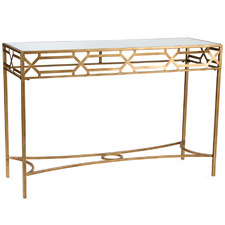 Gold Aura Geometric Metal Console Table