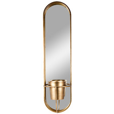 Gold Aura Oval Mirror with Planter