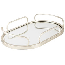 Oval Art Deco Mirrored Tray