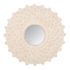 XL Whitewash Medallion Wall Mirror