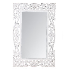 XL White Antique Scroll Wall Mirror