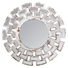 Large Distressed White Mosaic Wall Mirror