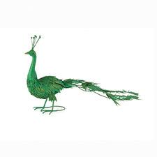 Green Metal Peacock Statue