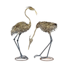 2 Piece Grey Heron Metal Outdoor Statue Set