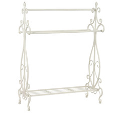 White Large Ornate Towel Stand
