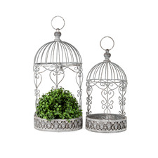 2 Piece Baroque Metal Planter Set