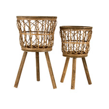 2 Piece Neutral Bamboo Pot Planters Set