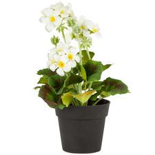 Potted Faux White Geranium Plant