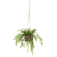 Hanging Potted Faux Fern Plant