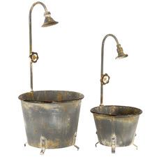2 Piece Vintage-Style Planter Set