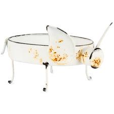 Distressed White Pig Decorative Bowl