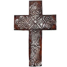 Large Hand-Carved Decorative Wall Cross