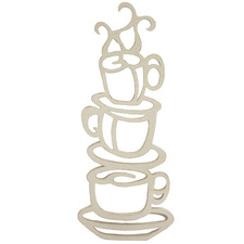 White Carved Coffee Cup Tower Wall Accent