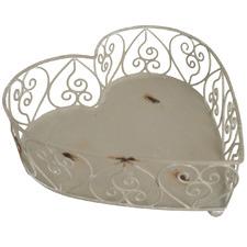 Antique Cream Heart Decorative Tray