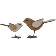 2 Piece Shabby Mum & Child Bird Ornament Set