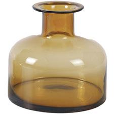 Brown Amber Glass Squat Vase