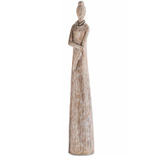Lady with Crossed Arms Wooden Statue