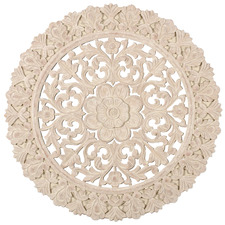 Extra Large Whitewash Round Medallion Wall Accent