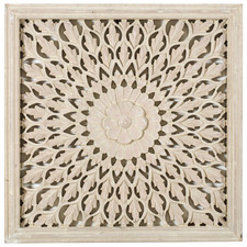 Large Whitewash Square Medallion Wall Accent