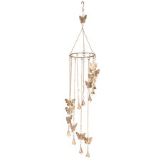 Gold Butterflies, Beads & Bells Wind Chime