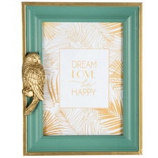 """Green & Gold Luxe Parrot 5 x 7"""" Photo Frame"""