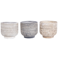 3 Piece Aztec Earth Concrete Planter Set