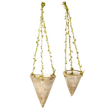 2 Piece Earth Cone Hanging Planter Set