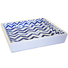 Blue Chevron Square Ceramic Candle Holder