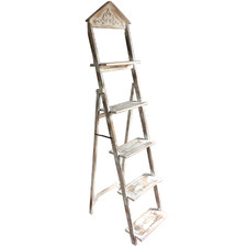 French Lorette Chinese Fir Wood Ladder Shelf
