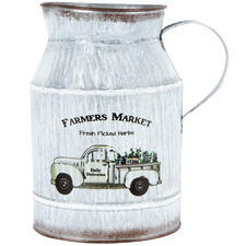 Distressed White Farmers Market Decorative Churn