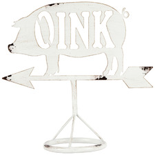 White Pig Oink With Arrow Metal Ornament
