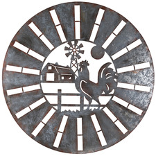 Rooster Round Metal Wall Accent