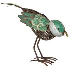 Green Bird Looking Down Figurine