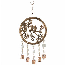Circle Of Life With Birds Metal Wall Hanging