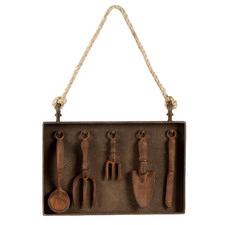Rust Garden Tools Metal Hanging Wall Accent