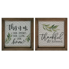 2 Piece Home Thankful Wall Accent Set