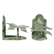 2 Piece Antique Green Butterfly Bookends Set