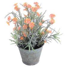 25cm Potted Faux Orange Chrysanthemum Plant
