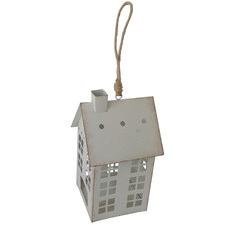 Distressed White Hanging Metal House Tealight Holder